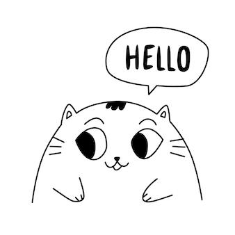 Иллюстрация милый котенок. контур милый кот.