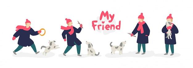 犬と遊んでいるガールフレンドのイラスト。ベクター。