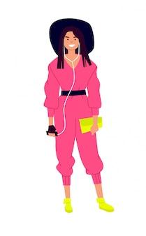 Иллюстрация милая девушка в шляпе и розовый комбинезон.
