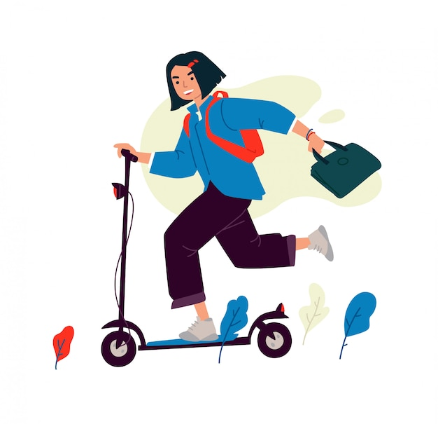 電動スクーターの女の子のイラスト。
