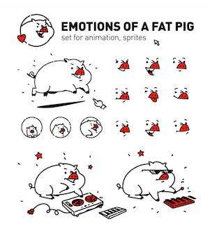 漫画豚のイラスト。ベクター。