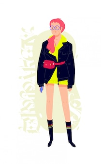 Иллюстрация молодой модной девушки с телефоном.