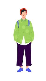 明るい緑のシャツを着た若い男のイラスト。ダークパンツのスタイリッシュなヒップスター。