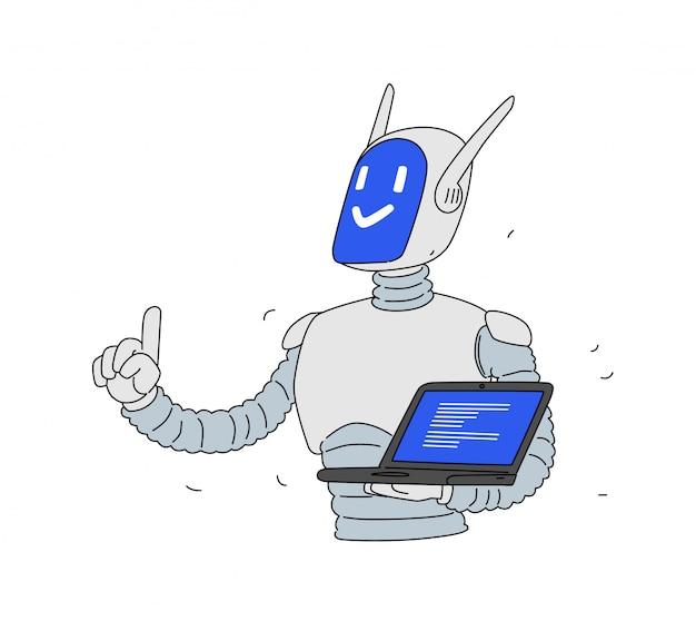 ノートパソコンでロボットのイラスト。漫画のアンドロイド開発者。会社のマスコット。データ保護。オンラインプログラミング。