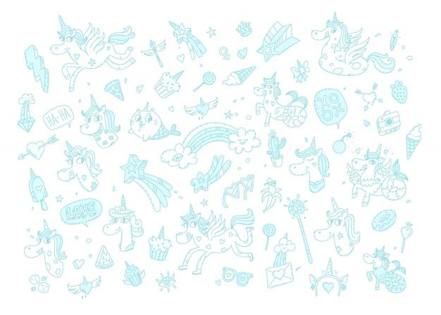 Иллюстрации волшебных единорогов. , мультяшный конный мир. кошка русалка. каваи персонажи. мифические существа с аксессуарами. узор изображений для детских товаров.
