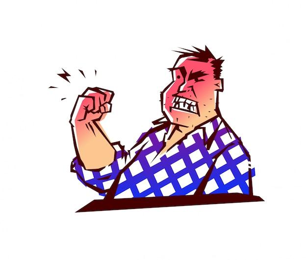 邪悪な男のイラスト。男が拳で脅しています。ベクター。
