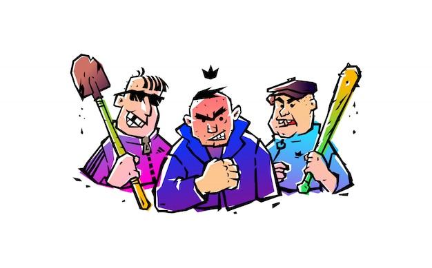 Иллюстрация трех хулиганов с битой и лопатой. вектор.