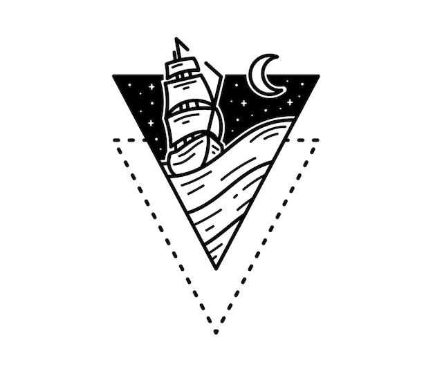 海のタトゥーモノラインバッジデザインの海賊船