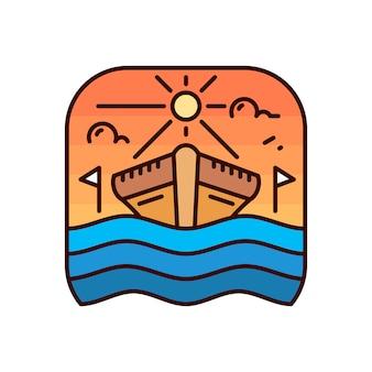 シンプルな船モノラインバッジロゴ