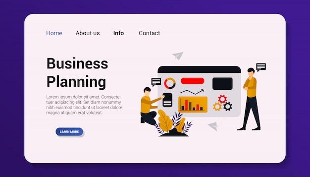 Бизнес-планирование целевой страницы плоский дизайн иллюстрация