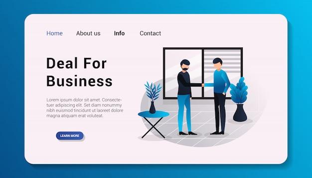 ビジネスのランディングページテンプレートフラットデザインイラストの取引