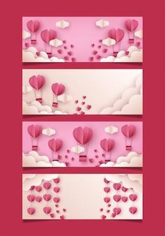 メディアソーシャルのバレンタインバナーテンプレートのセット