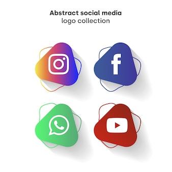 抽象的なソーシャルメディアのロゴのコレクション