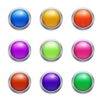 光沢のあるボタンセット
