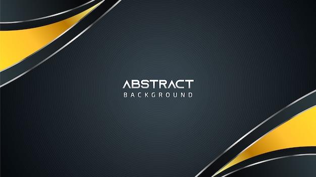 黄金の要素とテキストのコピースペースを持つ抽象的な黒と白の技術の背景