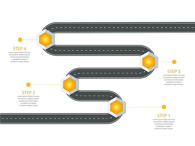 Инфографический шаблон. извилистая асфальтовая дорога с оригинальными точечными указателями.
