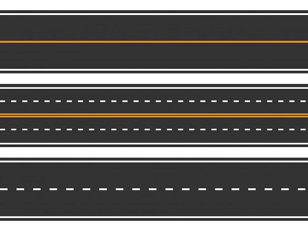 Набор шаблонов прямых асфальтированных дорог. бесшовный дорожный фон.