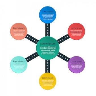 Круглый инфографики шаблон с наклейками и пин указатель.