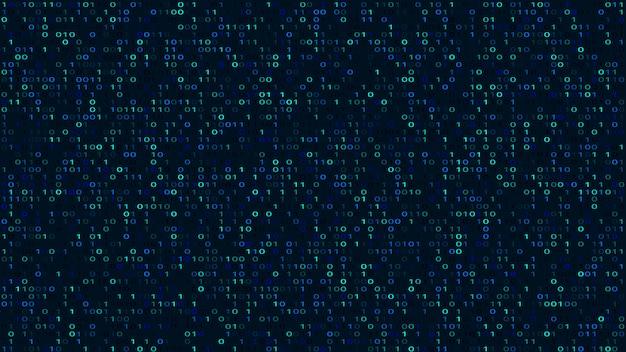 抽象的なバイナリコードの暗い背景。サイバースペース