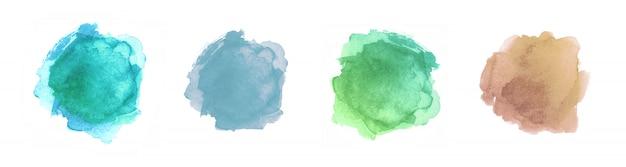 分離された抽象的な塗装図形。水彩テクスチャセット