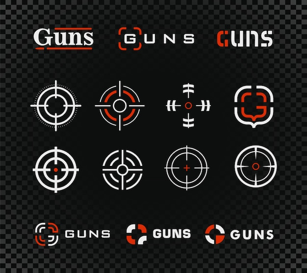 Стрельбище вектор шаблон и значок коллекции. пистолет или другое оружие прицел прицел знак установлен на черном