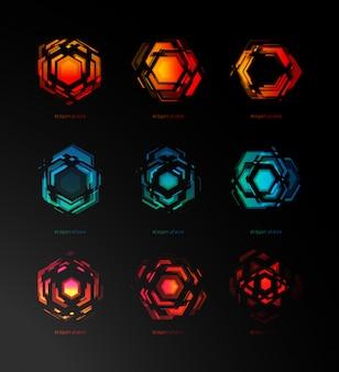 Набор шаблонов логотип абстрактный конструктор