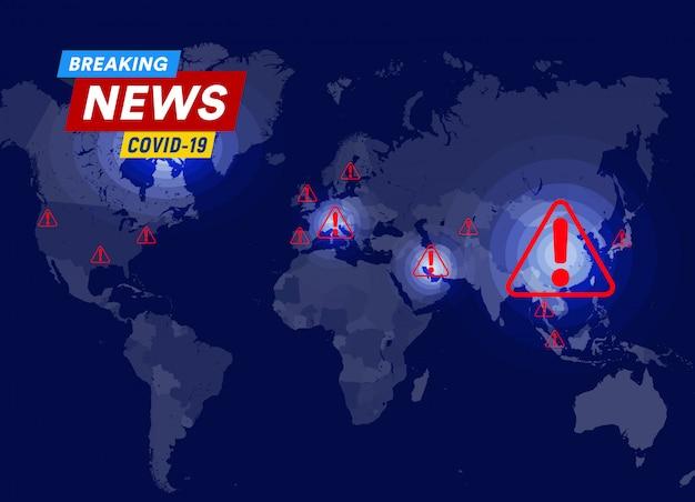 コロナウイルスウイルス拡散統計、死亡率、および感染領域とポイントテンプレートを含む感染マップ