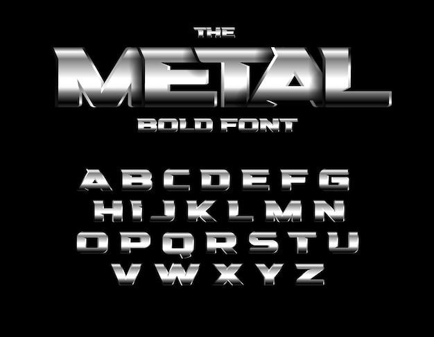 残忍なメタリックスタイルのフォント。アルファベットのデザイン。