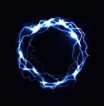 Реалистичные молнии кольцо, шар энергии, магическая сфера, синий цвет плазмы на темном фоне. изолированная иллюстрация
