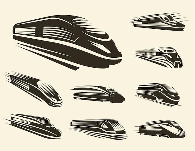 Изолированные монохромный современный гравированный поезд логотипы набор