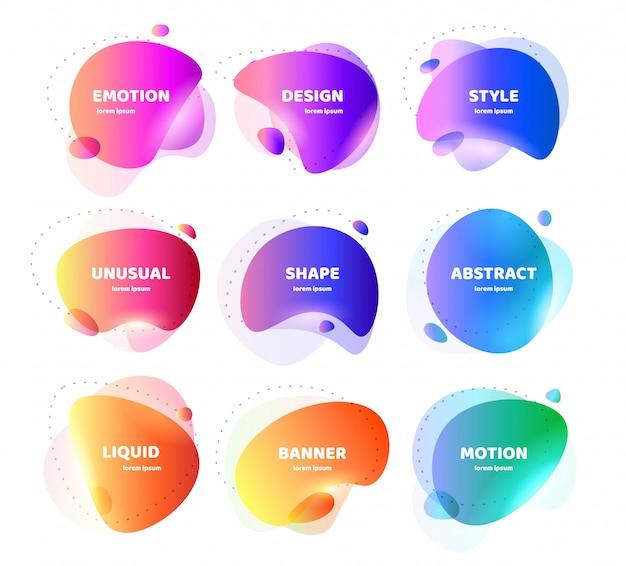 Набор современного абстрактного баннера. плоские геометрические красочные жидкие формы. цветной дизайн шаблона логотипа, флаера, баннера, презентации. концепция дизайна для бизнеса. изолированная иллюстрация