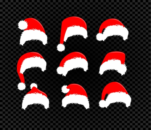 サンタクロースの帽子セット、ベクトルのアイコン、冬の赤い帽子コレクション