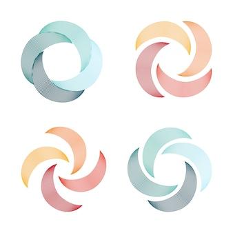 スパイラルと渦巻きロゴ抽象的なロゴのセット、ねじれ形状、ラインの渦巻き、丸い珍しいロゴ。