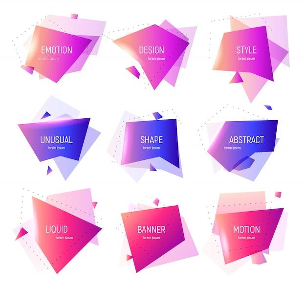 幾何学的なバナーのセット。抽象的な幾何学的図形。ロゴ、チラシ、バナー、プレゼンテーションの色のデザインテンプレート。