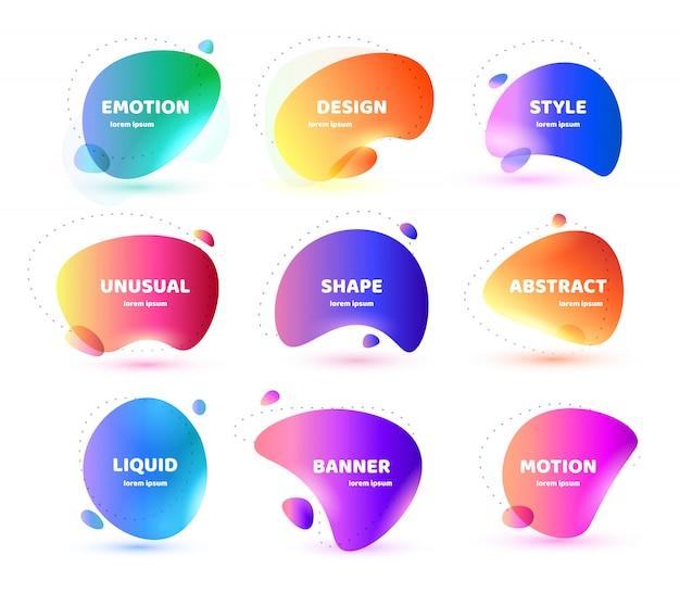 モダンな抽象的なバナーのセット。平らな幾何学的なカラフルな液体の形。ロゴ、チラシ、バナー、プレゼンテーションの色のデザインテンプレート。