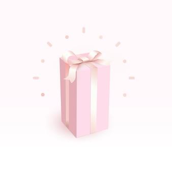 柔らかいサテンのリボンが付いたピンクの閉じた箱。女の子のための魔法と美しいギフトボックス、サイドビュー。お誕生日おめでとうグリーティングカードデザインは、穏やかなスタイルの要素を分離しました。