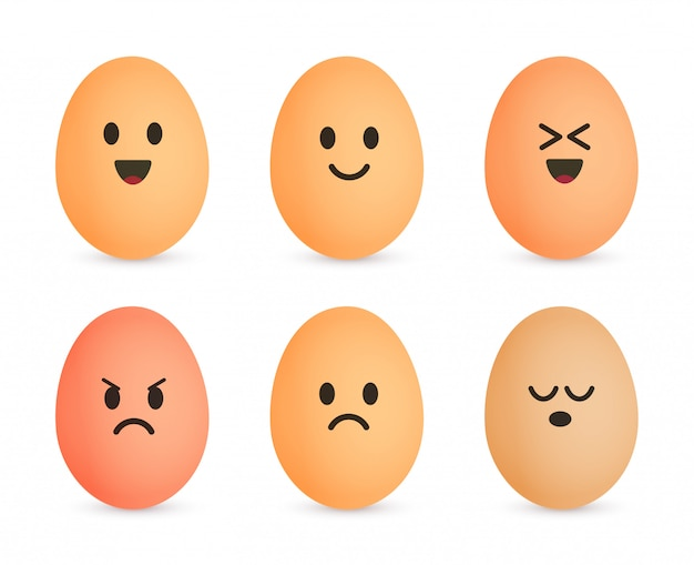 Яйцо значок набор. веселые символы яичной скорлупы. эмоциональное лицо на яйцах