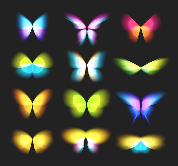 Бабочка изолированные логотипы набор. яркие красочные крылья бабочки, динамическое движение, размытый эффект иконки набор.