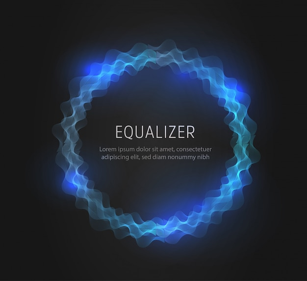 青い丸いイコライザーの形状、抽象的な音と電波。