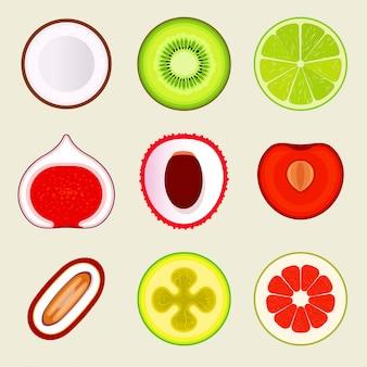 Набор плоских фруктов и овощей. цветные простые иконки на пустой фон.