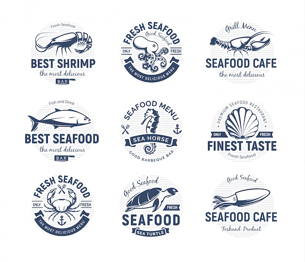 Морепродукты логотип набор. морские существа, эмблемы рыбалки или ресторана. шаблон логотипа в стиле ретро.