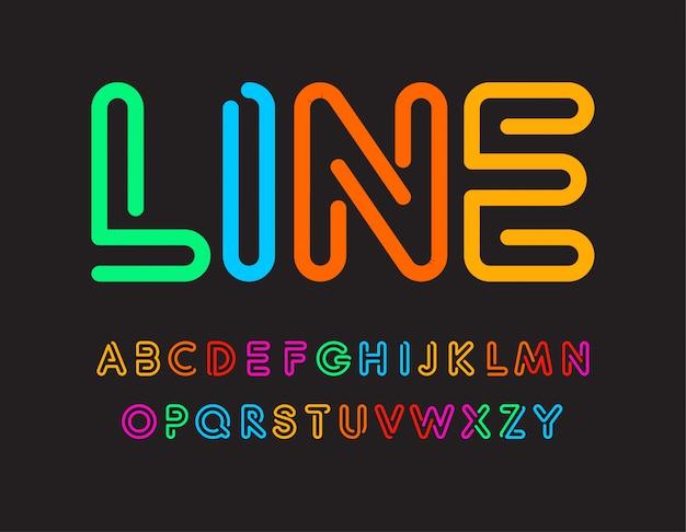 カラフルな文字のセット。カラーラインからのフォント。