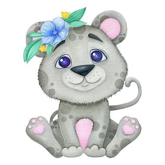 花かざりのかわいい小さな灰色のライオン。水彩イラスト