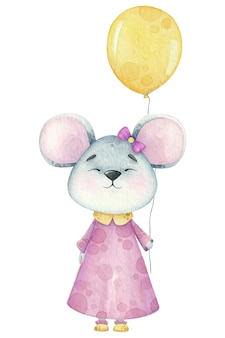 誕生日バルーン付きの小さな水彩マウス。