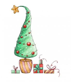 水彩のクリスマスツリーとギフト。クリスマスイラスト手描き