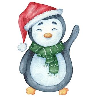 緑のスカーフとギフトと帽子の水彩ペンギン。クリスマス手描きイラスト