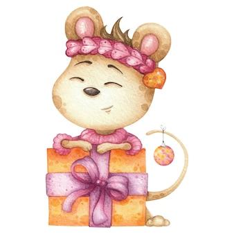 大きなギフトボックス付きのかわいいマウス。クリスマスや誕生日の水彩イラスト