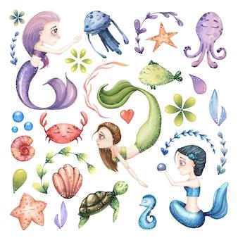 人魚、海の動物、抽象的な要素を持つ水彩海洋イラストの大きなセット