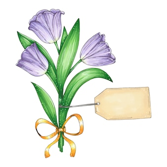 紫のチューリップの美しい花束と手描きイラスト