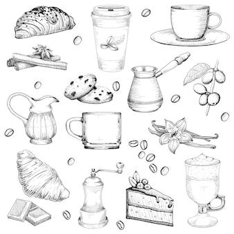 コーヒーとペストリーの大きなセット図はビンテージスタイルをスケッチします。分離した白い背景の要素